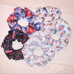 Fourth of July 5pack hair Scrunchies handmade new